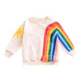 Wholesale Hoodies Christmas - Baby Girls Sweater Long Sleeved Hoodie Cartoon Rainbow Printed Tassels T-shirt Autumn Winter New Kids Clothing Factory Free DHL 403
