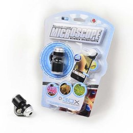 Wholesale Ipad Microscope - Universal 30X Optical Zoom Mobile Phone Microscope Clip Micro Lens Telescope Camera Lens For iPhone 5 6 S iPad Samsung HTC