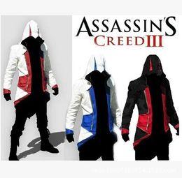 pokemon azul Desconto Venda quente Assassins Creed 3 III Conner Kenway Casaco Com Capuz Casaco Jaqueta Traje Cosplay