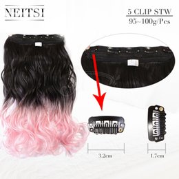 """Wholesale Beauty Braids - Neitsi 22"""" L.Pink# 100g pc Two Tone Ombre Synthetic Clip In Hair Extensions Curly Weave Braiding Clip Hair Weft For Beauty Woman"""