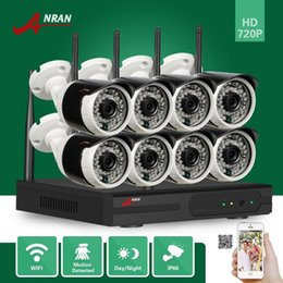 Wholesale Wifi Security Surveillance System - DHL FREE ANRAN Plug and Play 8CH WIFI NVR 36IR Night Outdoor Wireless 1.0 Megapixel 720P Camera WIFI IP Security Surveillance System