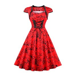 Wholesale Victorian Steampunk Dresses - Women's Red Lace-Up Cotton Lolita Dress Vintage Punk Victorian Steampunk Short Cap Sleeve Sweetheart Cocktail Homecoming Dress Plus Size