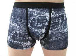 Wholesale Jeans Boxer Shorts - Wholesale-New 2015 Fashion 3D Men's Cartoon Cotton Shorts Denim Jeans Boxer Sexy Underwear