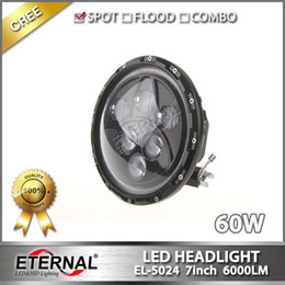 Wholesale Led Rings For Headlights - free shipping pair 120W round 7in dual sealed beam with halo ring led headlight for Jeep wrangler rubicon CT TJ JK FJ Miata
