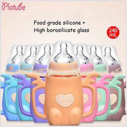 Wholesale Bpa Free Glass Baby Bottles - Platube Baby Feeding Bottle With Handle BPA Free Silicone + Glass 240ml Width Mouth Pacifier Nipple Bottles Mamadeira