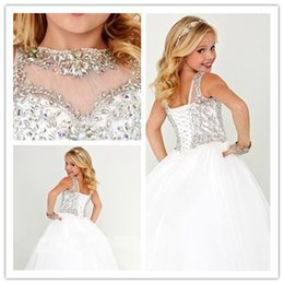 Vestito da ragazza di fiore di cristallo bianco abito da ragazza Nuovi vestiti da spettacolo per bambine Taglie forti vestito per 12 ragazze Party Dress 2016 da