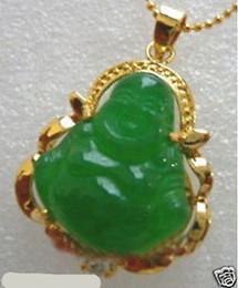 Jade pingente colares on-line-Atacado barato New Gold Plated verde jade buddha pingente de colar