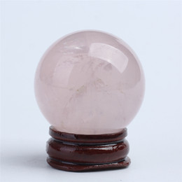 Wholesale Crystal Rose Ornament - HJT Wholesale 70g Natural Rose crystal Sphere ball pink crystal healing sphere for sale Chrismas Home Decorations small crystal ball 35mm