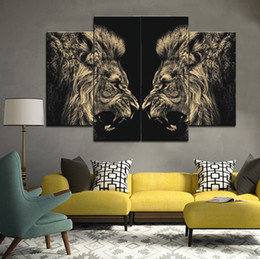 Wholesale Hd Picture Frame - Face to face of the lion Frameless Paintings 4pcs No Frame Printd HD Print