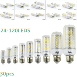 Wholesale Ampoules Led E14 - 30X DHL Bombillas Classic Led Corn Bulb E27 5730 SMD 56 69 72 81 96 120LEDs Bright Lamps E14 Ampoule Candle Luz B22