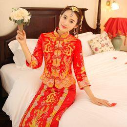 Wholesale Taffeta Qipao - Claret Red Vintage Chinese Women's Long Qipao Cheongsam Evening dress Cheongsam Chinese SuZhou Embroidery Long Dress