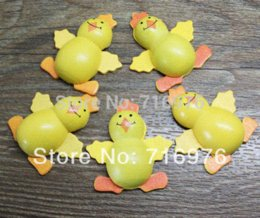 Wholesale Wholesale Cheap Chicken - Wholesale Free Shipping 20pcs yellow Painted Wood chicken Craft Ornament for Scrapbooking 35mm*39mm (W02318) Buttons Cheap Buttons