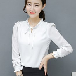 Wholesale Pink Ruffle Blouse Top - Red Black Womens Chiffon Tops And Blouses Plus Size XXXL Ladies Long Sleeve Blouses Shirts Feminino Ruffles Bow Casual Blouses