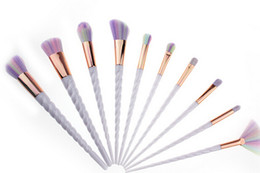 Wholesale Silver Makeup Brushes - NEW ARRIVAL 1LOT=10PCS MAKEUP BRUSH Unicorn spiral handle screw 10 makeup brush suit with paint brush suit makeup tools