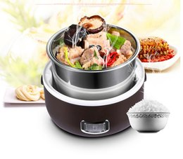 Wholesale Electric Heated Lunch Box - Wholesale-Mini rice cooker 1 - 2 small rice cooker small electric heating lunch box electric heating rice cooker Portable Electric Cooking