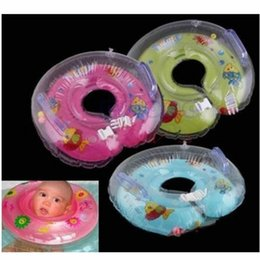 Wholesale Baby Aids Infant Swimming - Wholesale- 2colors Baby Infant Bath Swimming Pools Swim Aids Neck Float Ring Safety Inflatable blue pink