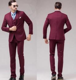 Wholesale Men S Wedding Suit Back - Slim Fit Back Vent One Button Groom Tuxedos Notch Lapel Groomsmen Men Wedding Tuxedos Prom Suits (Jacket+Pants+Vest)