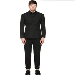 Wholesale Tailor Made Formal Pants - Tailor made men wedding suit black double breasted groomsman suits elegant gentleman formal occasions suits(jacket+pants)