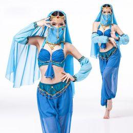 Wholesale Genie Aladdin Costumes - 5-Piece Sexy Indian Costume Exotic Apparel Women GENIE Jasmine Aladdin Princess Costume Fancy Dress Arabian Belly Dance Costumes