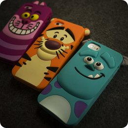 Wholesale 3d Iphone 4s Cat Case - For iphone 6 6S plus 4S 5S S4 S6 S5 Note4 3D Cute Animal Cartoon Rubber Monster Sulley Tiger Cat Silicone Back Cover Soft Case