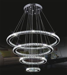 Wholesale Crystal Circle Chandelier - Modern LED hanging Chandeliers K9 Crystal suspension Fixtures For living dinning room 4 Diamond Ring lustre Lighting Circle Lamp