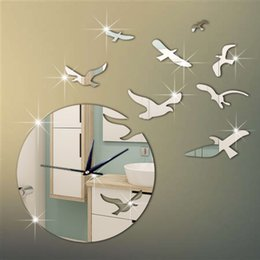 Wholesale Crystal Mirror Wall Stickers Decor - New Arrival 3D Mirror Bird Wall Stickers Clock For Home Wall Decor DIY Crystal Mirror Surface Wall Clocks Wall Art Watch