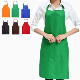 Wholesale Household Wholesale - Solid Color Apron Kitchen Clean Accessory For Multi Function Household Adult Cooking Baking Aprons 4 5jf C R