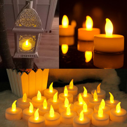 Wholesale Romantic Flameless Candles - 10pcs lot Battery-powered Flameless LED Tealight Wedding Birthday Xmas Vintage Romantic Decor Electronic Lamps Candles Indoor Outdoor Use
