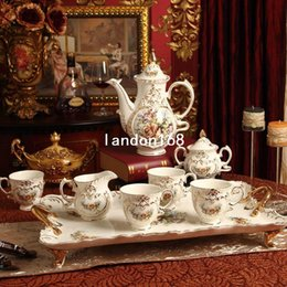 Wholesale Top Coffee Cups Set - Luxurious Coffee set Top grade ceramic Tea cup set British afternoon tea Wedding gift Housewarming Gift
