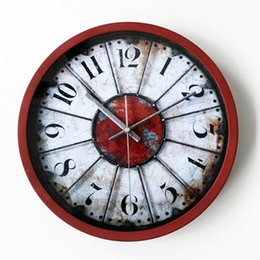 Wholesale Clocks European Vintage - Wholesale- Vintage Nostalgic European Digital Wall Clock Art Round Creative Design Wall Clock Silent Non-ticking Wall Clock