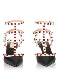 V sandali online-su misura * alta qualità! u568 34/40 rivetti a punta in vera pelle tacchi sandali v pompe sandali moda scarpe