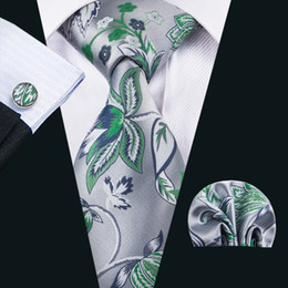 Wholesale China Yarns - China Silk Ties Men Silve and Green Beautiful Neckties Handkerchief Cufflinks Set for Formal Casual Occasion N-1604