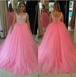 Wholesale Lace Spaghetti Strap Tank - Tank Straps Corset Back Prom Dresses Long Baby Pink Puffy Tulle Gorgeous Imitation Pearls Prom Party Gowns Floor Length Evening Dresses