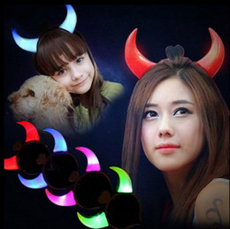Wholesale Devil Horns Light - Led Flashing Horns Headband Glow Light Up Xmas Devil Hair Hoop Headband Headwear Costume Fancy Party Accessories OOA2593
