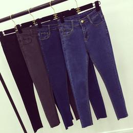 Wholesale Joker Cotton Jeans - Wholesale- Autumn Jeans for Women Fashion Thin Joker Feet High Waist Jeans Trousers Solid Women Warm Jean Femme