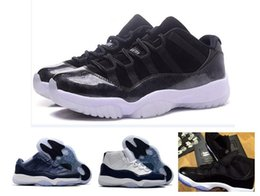 Wholesale easter door - 2017 Men 11 Low Barons 11S Black Basketball Shoes Out Door Sports Sneakers for Mens Size US8-13 Real Carbon