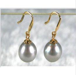Wholesale Yellow Pearl Dangle Earrings - 2016 new GORGEOUS 10-11MM gray AAA+++ south sea pearl dangle earring 14K Y gold
