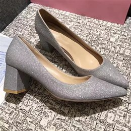 Wholesale Silver Bling Pumps - New 2017 Pointed Toe Women Silver Wedding Shoes Med Heel Bridal Glitter Shoes Bling Bling Brand Chunky Shoes Slip On Ladies Pumps Heels P44