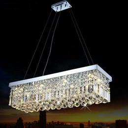 2019 lustre retangular sala de jantar luzes LEVOU Moderno Lustre De Cristal Retangular Luminária luminária Pendurado lâmpada para Sala de Estar Sala de Jantar Restaurante Decoração lustre retangular sala de jantar luzes barato