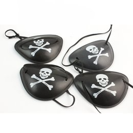 Wholesale Halloween Pirate Masks - Pirate Eye Patch Fashion Skull Crossbone Black Goggle Halloween Favor Party Bar Props Kid Toy Cosplay One Eyed Mask 0 48dz F R