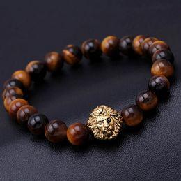 Wholesale Natural Bead Strands - 2016 bead Charm bracelet buddha bracelets paracord natural stone lion bracelet men pulseras hombre bracciali uomo mens bracelets