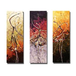 Wholesale Hot Nude Girl Painting - 3 panels nude girl dancing pictures hand painted hot sexy images oil painting abstract figure paintings free shipping