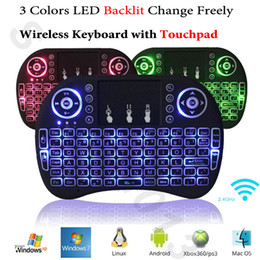 Wholesale xbox mouse - Backlit Air Mouse Wireless Mini Keyboard with Touchpad Rii i8 Backlight Remote Control for Android Smart TV Box Mini PC HTPC Xbox 360 PS3