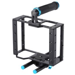 Wholesale 15mm Rod Rig Handles - Aluminum DSLR Camera Cage Kit With 15mm Rod Rig For DSLR Camera to Mount Microphones, Monitor, Sound Recorders, Top Handle, Follow Focus