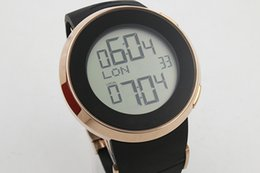 Wholesale Digital Watches For Sale - 2016 Hot Sale Brand Guc Digital watch For Men Grammy Chronograph Gold Sheleton Black Dial Rubber Band Watch