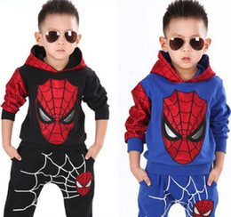 Wholesale Baby Spiderman Costumes - Hot New Toddler Baby Boys Long sleeve Hooded Spiderman Top+Pants 2PCS Kids Boys Casual Clothes Sets Cosplay Costumes Free Shipping