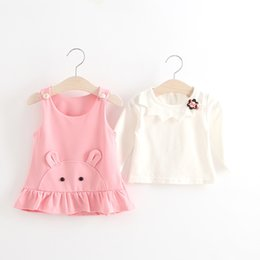 Wholesale Christmas Pc Outfits - Everweekend Kids Girls Ruffles Cats Dress with A Solid Shirt 2 Pcs Outfits Candy Color Sweet Baby Clothing Lovely Baby Dress