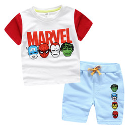 Wholesale Kids Shirts Spider - Marvel 2016 new baby clothes Spider-man Captain America 3 kids clothes baby boy clothes sets t shirt shorts boys clothing pre-school summer