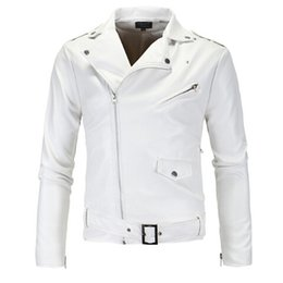 Wholesale Genuine Leather Man Jacket Biker - Wholesale- 2017 New Men Zipper Slim Fit Faux Leather Biker Jacket Male Winter White Motorcycle Leather Jacket