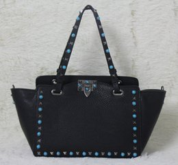 Wholesale Leopard Women S Bags - high quality~ w332 s l genuine leather gem stud tote shopping bag black